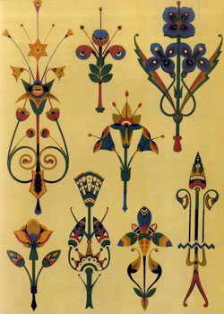 Diaper patterns founded on flowers by Christopher Dresser(Scotland)/1834-1904