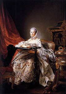 Madame de Pompadour at her Tambour Frame by Francois-Hubert Drouais (French,1727-1775)