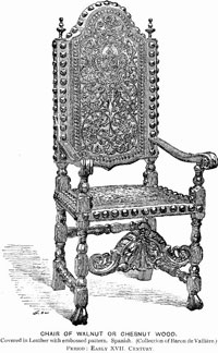 Chair of Walnut or Chesnut Wood, Covered in Leather with embossed pattern. Spanish, (Collection of Baron de Vallière.) Period: Early XVII. Century