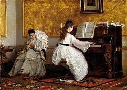 Lezione di pianoforte by Vito D'Ancona (1825-1884)