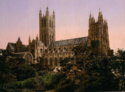 Canterbury Cathedral from the north west circa 1890-1900 (retouched from a black & white photograph)