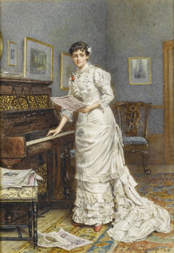 A young woman at a piano by George Goodwin Kilburne 1880