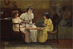 Young girls playing checkers by Francis Coates Jones(1857-1932)